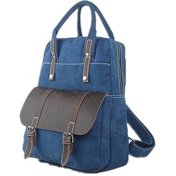 493e2a09685fc 5 All Unisex Canvas Leder Multi-Tasche 4 in 1 Rucksack Handtasche  Umhängetasche Henkeltasche Aktentasche
