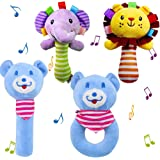 Melantha Baby Shaking /&Sound Toys Ring Rattle Plush and Stuffed Animal for Infants and Newborn Toddlers Perfect for Preschool Education Aged 3-24 Months Giraffe 9 Beads