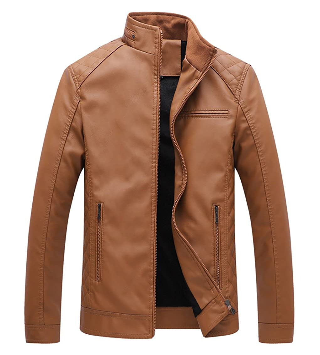 YIMANIE Men's Stand Collar Faux Leather Jacket Casual Bomber Coat Motorcyle Lightweight Outwear US-YMN-WT-8128