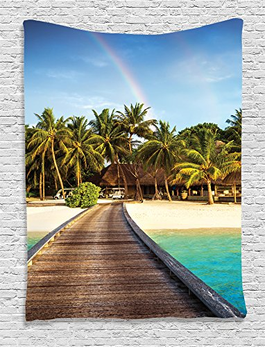 Ambesonne Wooden Bridge Decor Collection, Island Beach Resort Colorful Rainbow over Palm Trees Style, Bedroom Living Kids Girls Boys Room Dorm Accessories Wall Hanging Tapestry, Green Beige (Aqua Island)