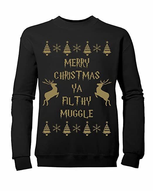 10b671190 Reverb Clothing Kids Boys Girls Merry Christmas yA Filthy Muggle Sweatshirt  Ages 3-13yrs: Amazon.co.uk: Clothing