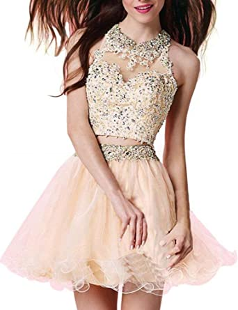 Sweetdress Two Piece Lace Bodice Short Homecoming Dresses Beads Prom Dresses New