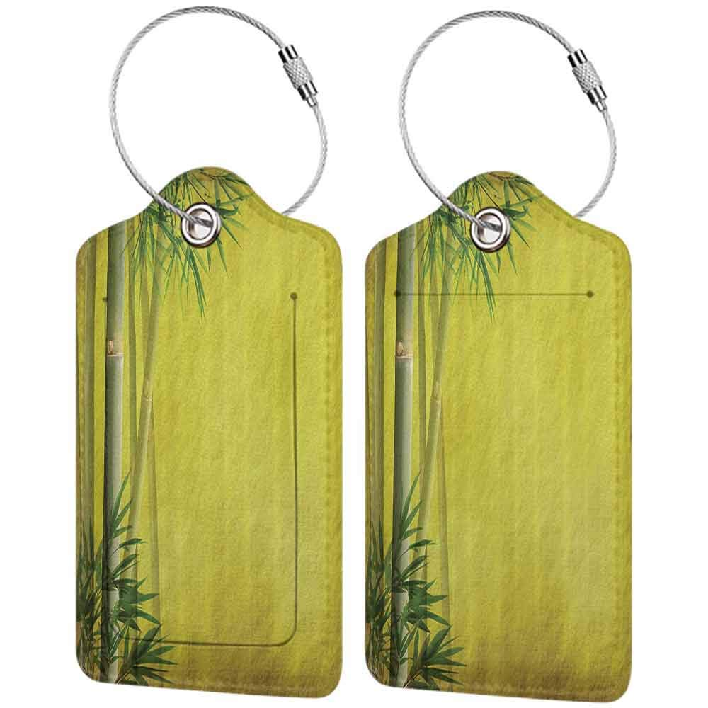 Flexible luggage tag Bamboo House Decor Collection Silhouette of Bamboo Branches Timber Climatic Herbs Nature Classic Art Print Fashion match Yellow Green W2.7 x L4.6