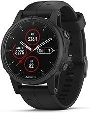 Garmin 010-01987-02 Fenix 5S Plus Zafiro Bisel con Correa GPS, Color Negro