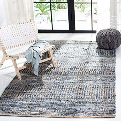 Safavieh Cape Cod Collection Natural and Blue Cotton Runner, 2 3 x 20