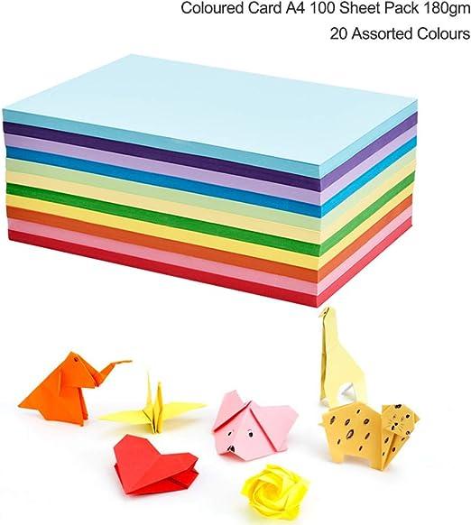 Cartulinas de colores de tamaño A4 y 230 gm, paquete de 100 cartulinas, para decoración y manualidades divertidas, papel para dibujar, 20 colores: Amazon.es: Hogar
