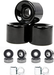 FREEDARE 58mm Skateboard Wheels 82a + ABEC-7 Bearing Steel and Spacers Cruiser Wheels (Pack of 4)