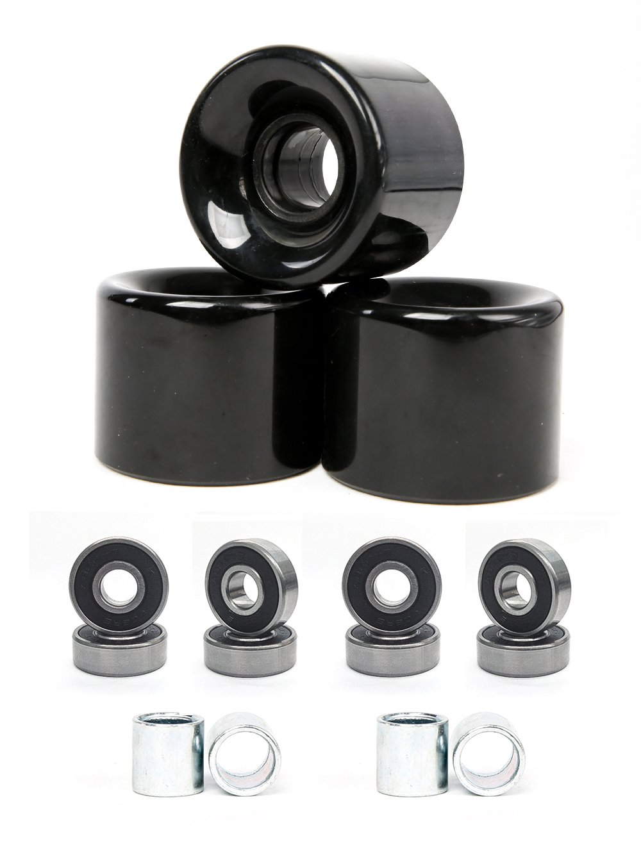 FREEDARE 58mm Skateboard Wheels 82a + ABEC-7 Bearing Steel and Spacers Cruiser Wheels (Black, Pack of 4) by FREEDARE