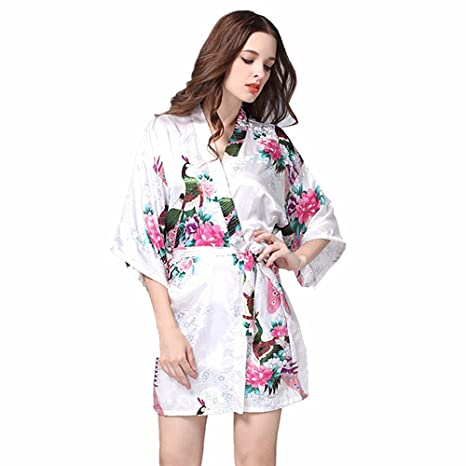 Kenmont Mujer Albornoces Lencería Kimono Flores Satén Pijamas Floral Camisón Bata Corto Ropa De Dormir (