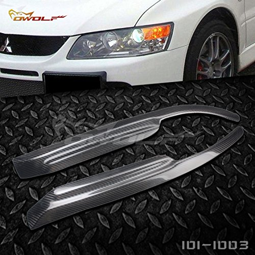 car-wear Carbon Fiber Eyebrows Eyelids Headlight Covers for Mitsubishi Lancer Evolution EVO 7 8 9 2003 2007