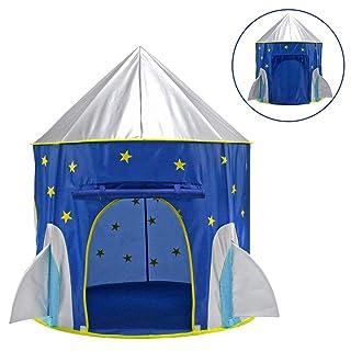 ACCDUER Tenda da Gioco per Bambini, Razzo Nave Gioco Tenda per Ragazzi, Ragazze, Neonati e Bambini all'Interno e all'aperto-Grande Gioco per Bambini casa Palla