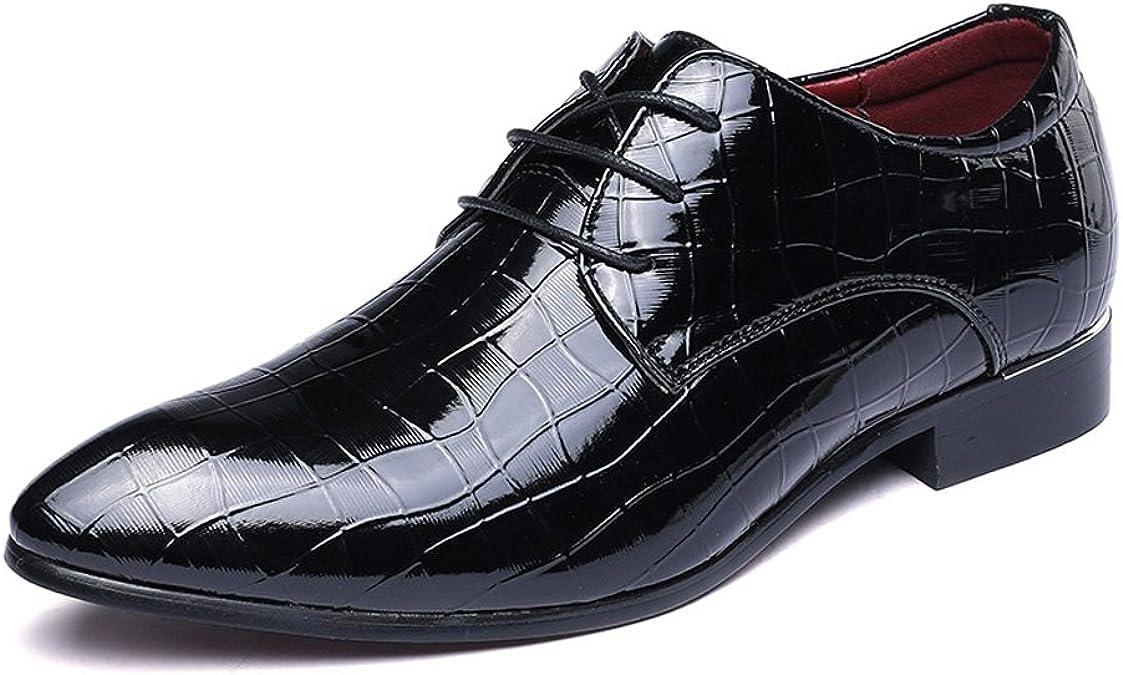 HILOTU ¡Despeje!Zapatos de Esmoquin,Zapatos Oxford de Charol para Hombre Punta Estrecha Atan para Arriba Los Zapatos Casuales de La Boda
