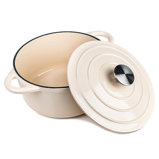 Cacerola redonda de hierro fundido, cerámica de inducción y gas ...