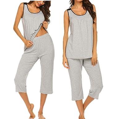 the best attitude 59185 21dbe Unibelle Damen Schlafanzug Kurz Sommer Pyjama Nachtwäsche Hausanzug 3/4  Lange Hose Rund Ausschnitt Sleepshirt Zweiteiliger S-XXL