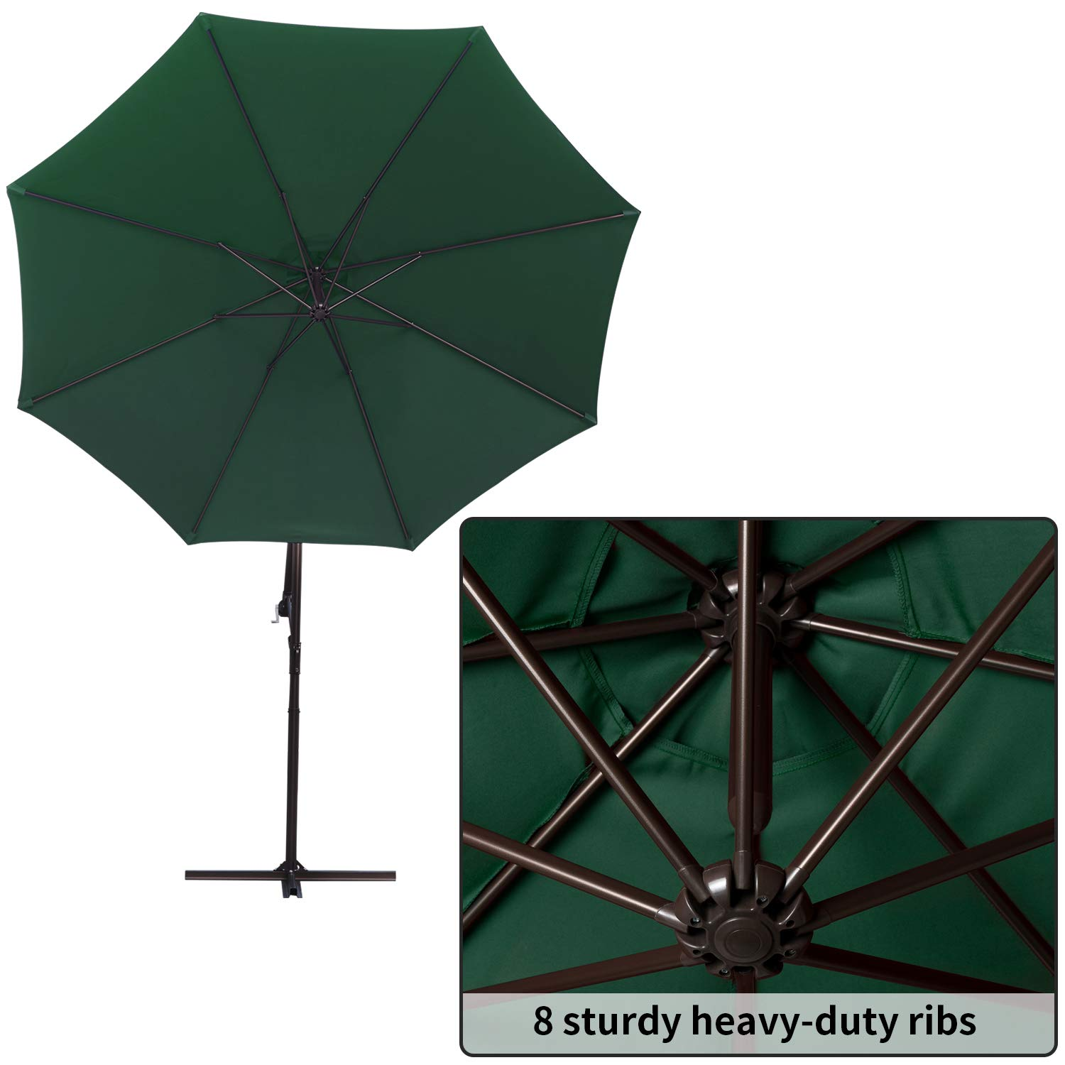 RUBEDER Offset Umbrella - 10Ft Cantilever Patio Hanging Umbrella,Outdoor Market Umbrellas with Crank Lift & Cross Base (10 Ft, Dark Green) by RUBEDER (Image #3)