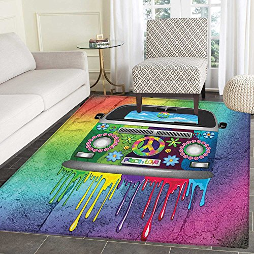 Groovy Print Area Rug Old Style Hippie Van with Dripping Rainbow Paint Mid 60s Youth Revolution Movement Theme Indoor/Outdoor Area Rug 3'x4' Multi