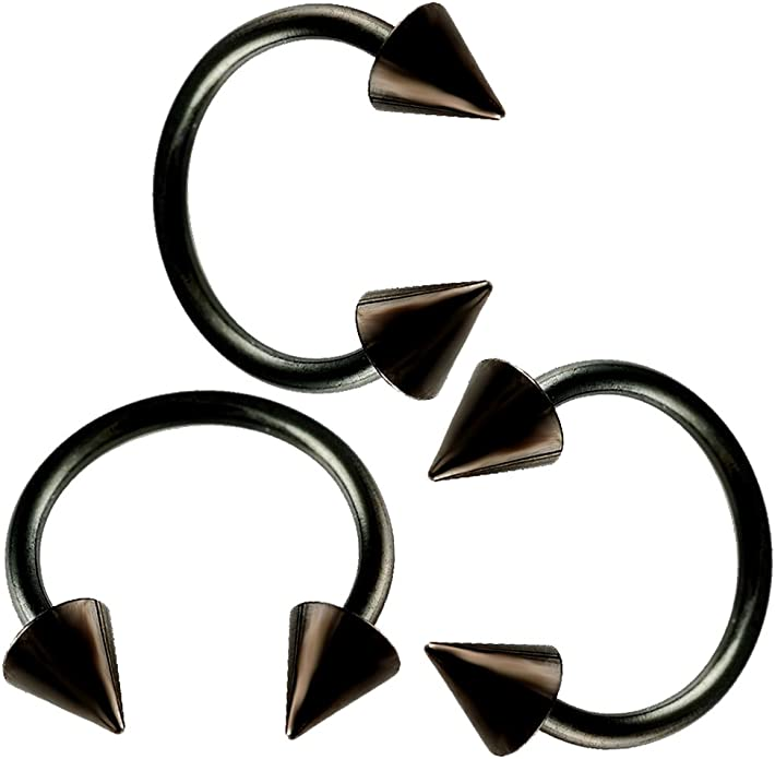 16G Surgical steel black spike bananabell piercing 1.2mm