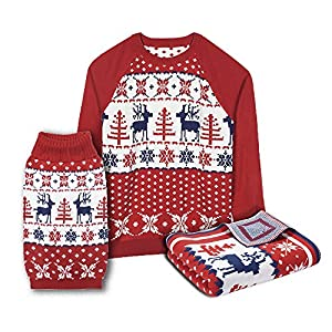 "Blueberry Pet 6 Patterns Vintage Ugly Christmas Reindeer Holiday Festive Pullover Dog Sweater in Tango Red & Navy Blue, Back Length 14"", Pack of 1 Clothes for Dogs"