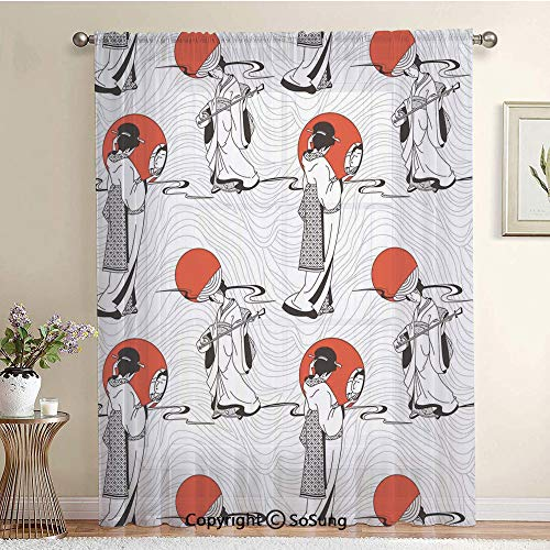 Japanese Geisha Girl with Traditional Kimono Folk Culture Style Modern Artful Image Extra Wide Sheer Window Curtain Panel for Large Window,Sliding Glass Door,Patio Door,1 panel,102 x 84 Inch,Red Black