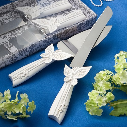 Beepels Cake Server Set- Knife and Cake Server Set- Colour- Premium Quality Stainless Steel- Floral Giftbox Included- Ideal for Weddings, Birthdays, Anniversaries (BUTTERFLY) - Butterfly Server