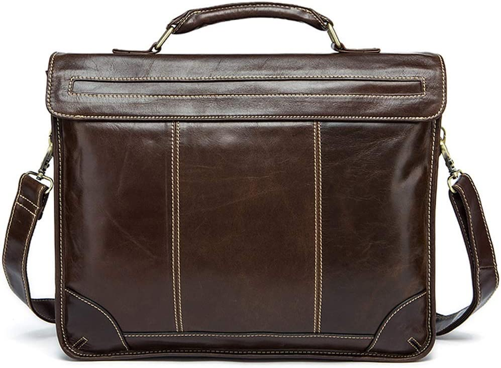 RuiXia Briefcase Dark Brown Cross Cover Retro Multi-Functional Mens Leather Casual Cross Bag 38x9x30.5cm Fashion Briefcase Large Capacity Business Handbag