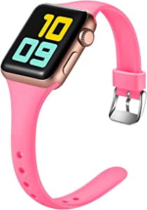 Nofeda Slim Band Compatible with Apple Watch 40mm 38mm, Narrow Thin Soft Silicone Sport Bands Replacement Strap for iWatch Series 5 4 3 2 1 Women Men, M/L, Nightglow Pink