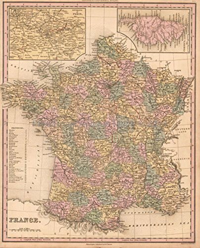 - France Antique Map Tanner 1836 Original French Decor History Gift Idea