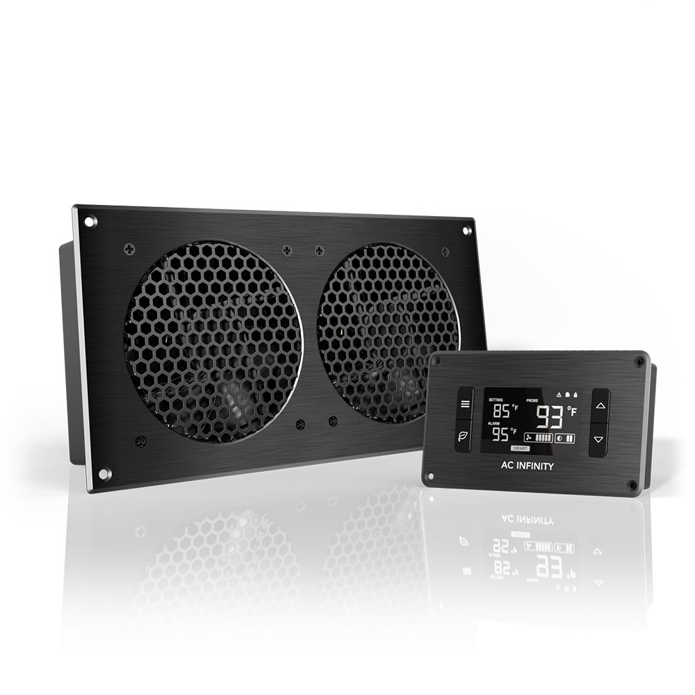 AC Infinity AIRPLATE T7, Quiet Cooling Fan System with Thermostat Control, for Home Theater AV Cabinets by AC Infinity