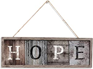 """Wood Wall Sign """"HOPE"""" Board Wooden Art Decor for Home Decoration and Gift for Living Room Bedroom Weeding Farmhouse Entryway Sign Gift 16 x 5.5inch"""