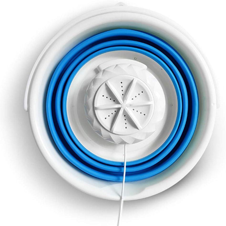 RVs 5L-BLUE Foldable Personal Compact Ultrasonic Turbines Rotating Washer Portable Lazy Magic Laundry Machine for Camping Mini Washing Machine Apartments Portable Mini Tub Washing Machine