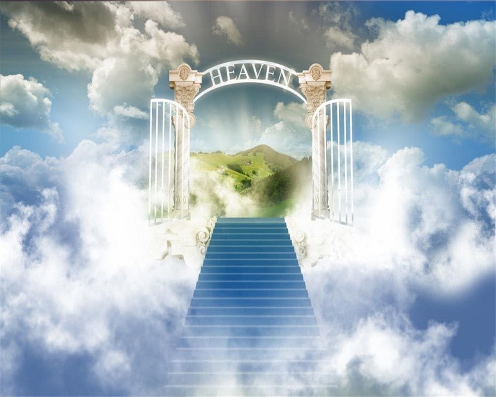 aofoto Stairway to Heaven fotografía telón de fondo fondo paraíso puerta cielo nubes escaleras Religión Iglesia filosófico tema jugar Kid recién nacido ángel de Pascua boda Photo Studio Props vinilo papel pintado: