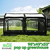 Quictent Pop up Greenhouse Passed SGS Test Eco-friendly Fiberglass Poles Overlong Cover Six Stakes 98''x49''x53'' Mini Portable Black House