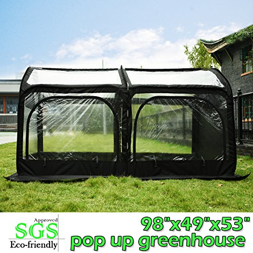 Quictent Pop up Greenhouse Passed SGS Test Eco-friendly Fiberglass Poles Overlong Cover Six Stakes 98″x49″x53″ Mini Portable Green House