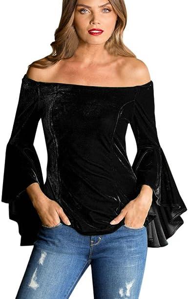 FAMILIZO Camisetas Mujer Manga Larga Algodon Terciopelo Moda Camisetas Mujer Tallas Grandes Camisetas Mujer Verano Blusa Mujer Sin Hombros Sport Tops Mujer Primavera: Amazon.es: Ropa y accesorios