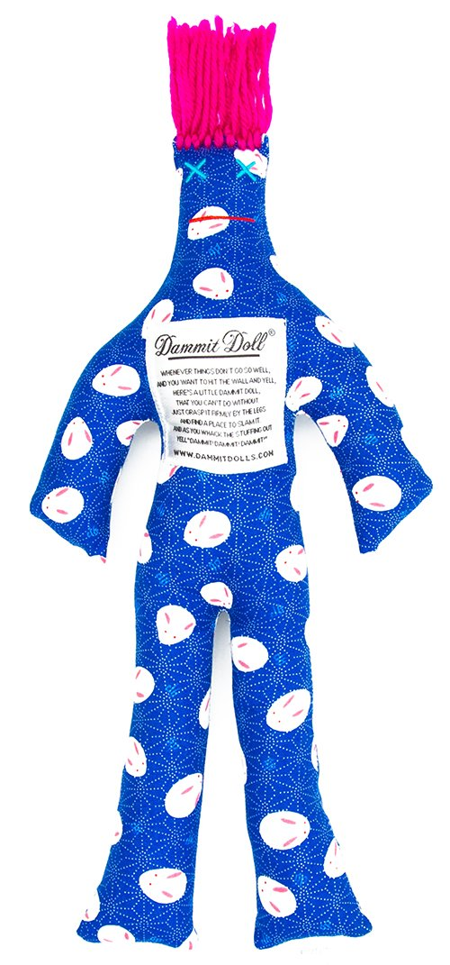 Dammit Doll - Classic Dammit Doll - Space Bunny - White Bunny Faces on Electric Blue, Fuchsia Hair - Stress Relief, Gag Gift