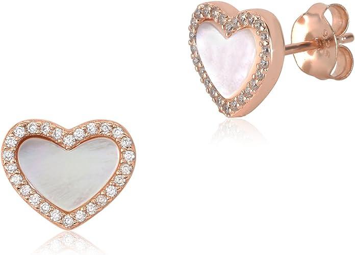 Sterling Silver Heart Post Earrings w// Pink Opal /& CZ Stones