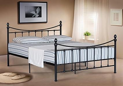 Doble marco metálico para cama doble en color negro con colchón para somier