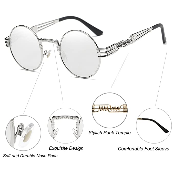 5e26d221e3 Dollger John Lennon Round Sunglasses Steampunk Style Sturdy Metal Spring  Frame Mirror Lens  Amazon.co.uk  Clothing