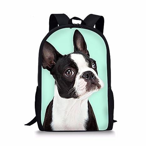 d466a997972b Showudesigns Boston Terrier Print Backpack for Kids Boys School Book Bag  Green