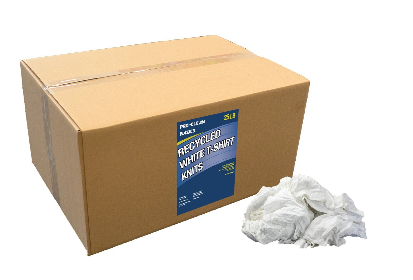 Pro-Clean Basics White Recycled T-Shirt Cloth Rags: 25 lb. Bag by Pro-Clean Basics