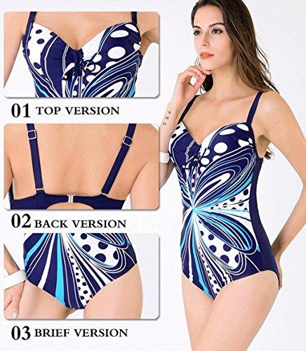 Traje de baño de las señoras Traje de baño de una pieza Big Cups impresión de gran tamaño bikini spa traje de baño traje de baño de playa Bikini Azul oscuro