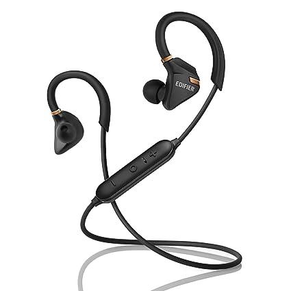 Edifier W296BT Bluetooth Sport Kopfhörer: Bluetooth v4.1 In-Ear-Ohrhörer. Schweiß-/Wasserbeständig, CVC Rauschunterdrückung –