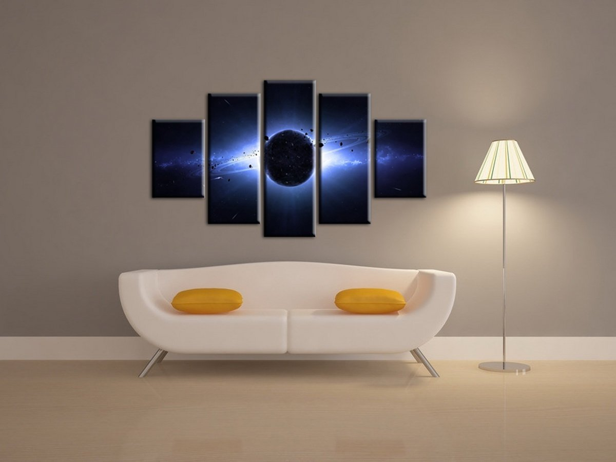 5 Panels Framed Planet Wall Art Oil Painting Canvas Picture Print Space Pictures For Home Decoration Size:20x30cm x2,20x50cm x2,20x60cm x1