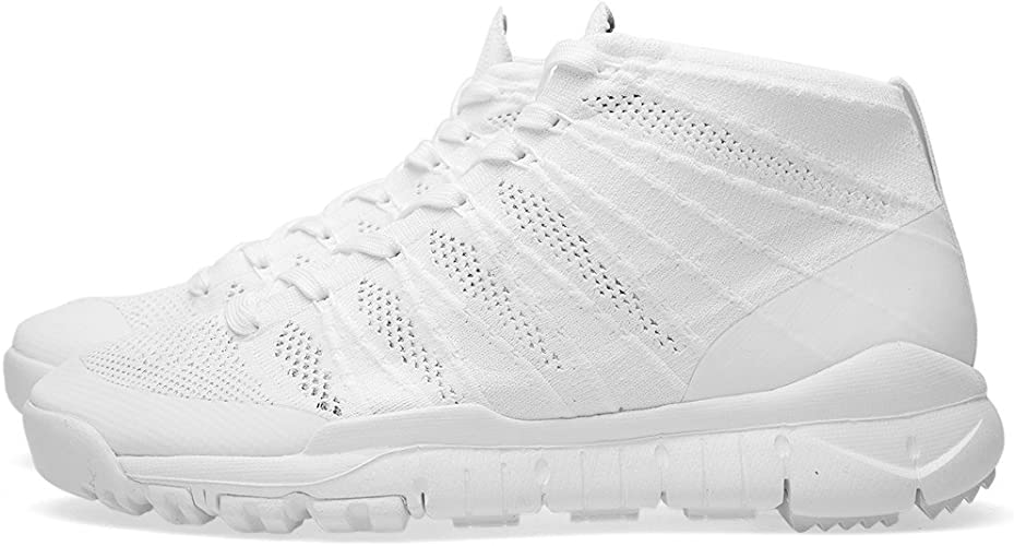 Nike Flyknit Trainer Chukka, Baskets Mode pour Homme Blanc
