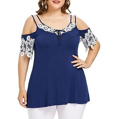 0f4edce8668 Blouses for Women Fashion Summer Plus Size Off Shoulder Lace T-Shirt Tunic  Irregular Hem Shirt Top  Amazon.co.uk  Clothing
