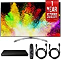LG 55SJ8500 55-inch Super UHD 4K HDR Smart LED TV (2017 Model) w/ Blu-ray Player Bundle Includes, LG (UP970) 4K Ultra-HD Blu-ray Player w/ Multi HDR, 1 Year Extended Warranty & 2x 6ft. HDMI Cable