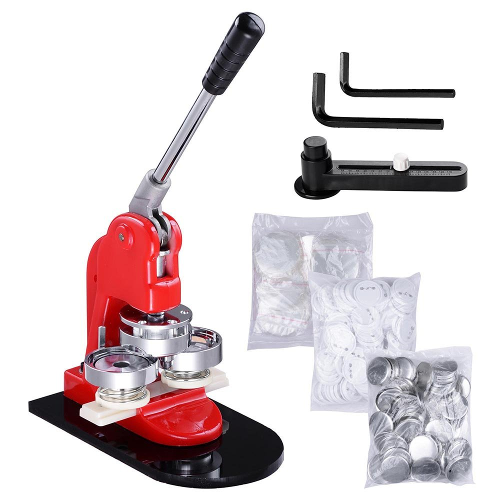 Yescom 2 1/4 inch 58mm Button Badge Maker Punch Press Machine with 1000 Pcs Pin-Back Button Parts and Circle Cutter by Yescom