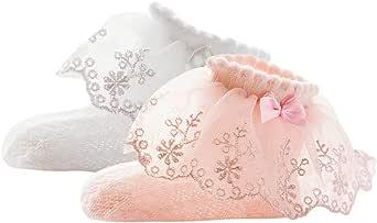DEBAIJIA Calcetines Antideslizante de Encaje de Algodón para Niñas 0-6 años Niños Calcetines con Volantes Antideslizantes Cálidos y Cómodos Primavera Autum Calcetines