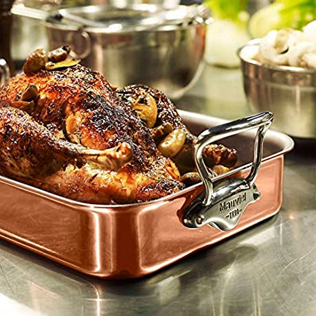 Mauviel M Heritage Copper Tri Ply Roasting Pan In Double Riveted Handles Cookware Includes Non Stick Rack Thermometer