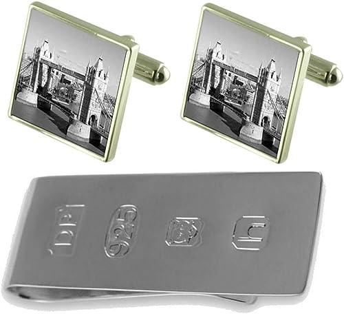 Select Gifts London Tower Bridge Cufflinks /& James Bond Money Clip GS1620-APS619J
